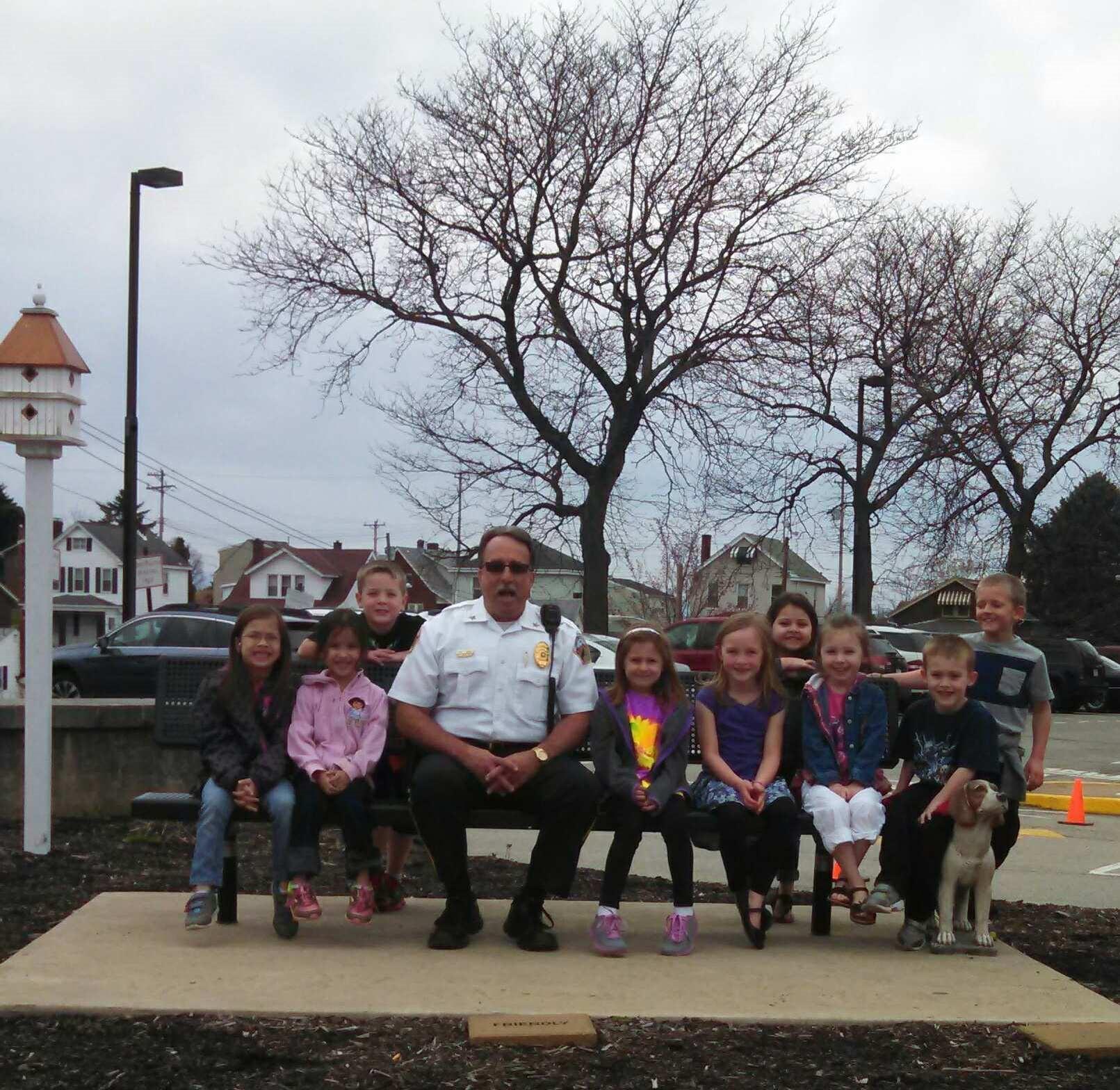 Chief Boory visits at Recess