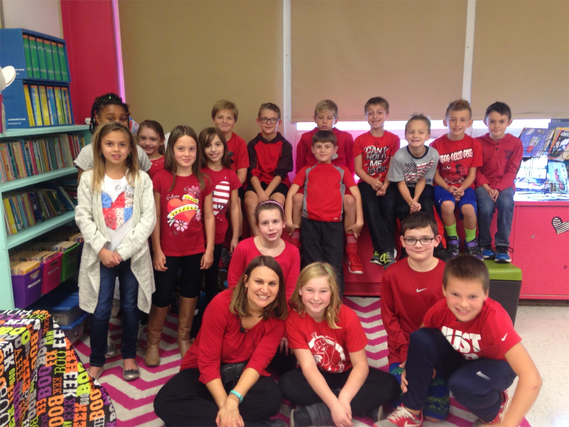 "3rd Graders and Mrs. DM  wear red for a ""kind heart"" during Red Ribbon Week"