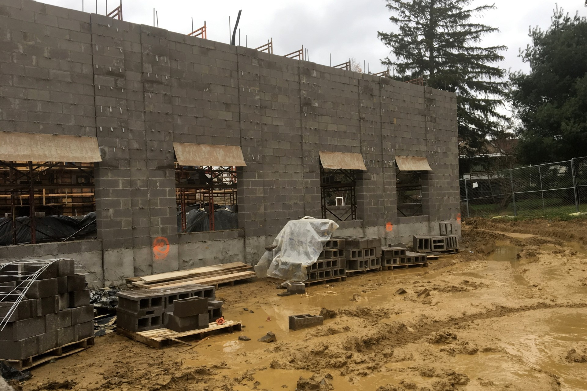 New school exterior wall construction