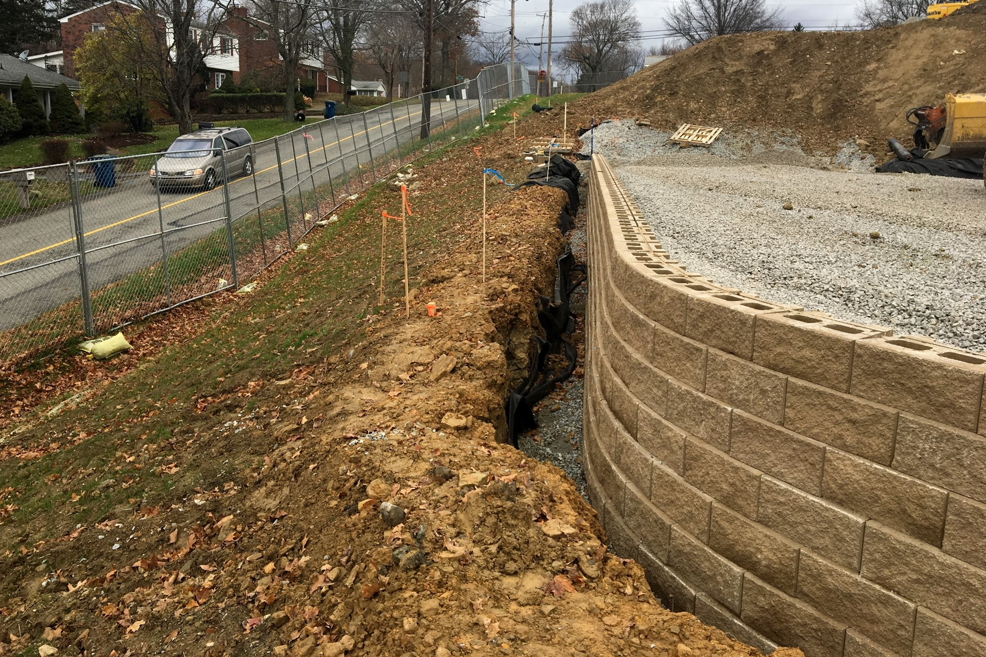 Retaining wall construction along Clare Street