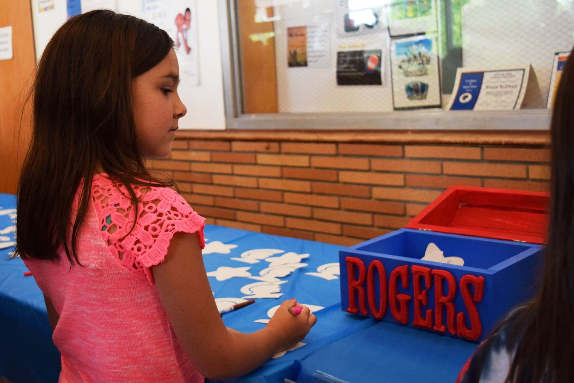 Contributing to the Rogers School memory capsule during the Rogers Reunion: May 2016