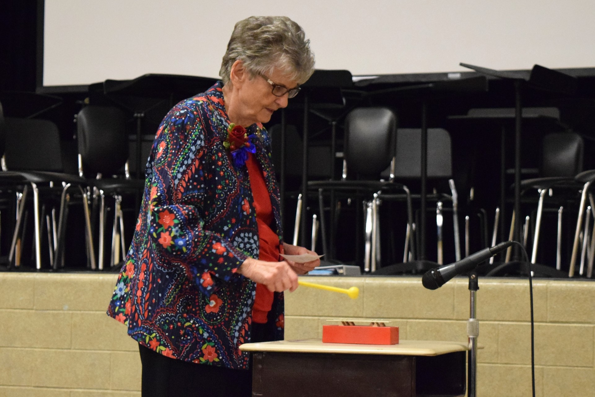 Longtime secretary Jane Schomburger plays the tone blocks during the Rogers Reunion: May 2016