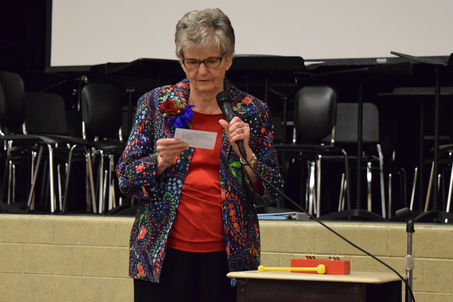 Longtime secretary Jane Schomburger tells a few of her jokes during the Rogers Reunion: May 2016