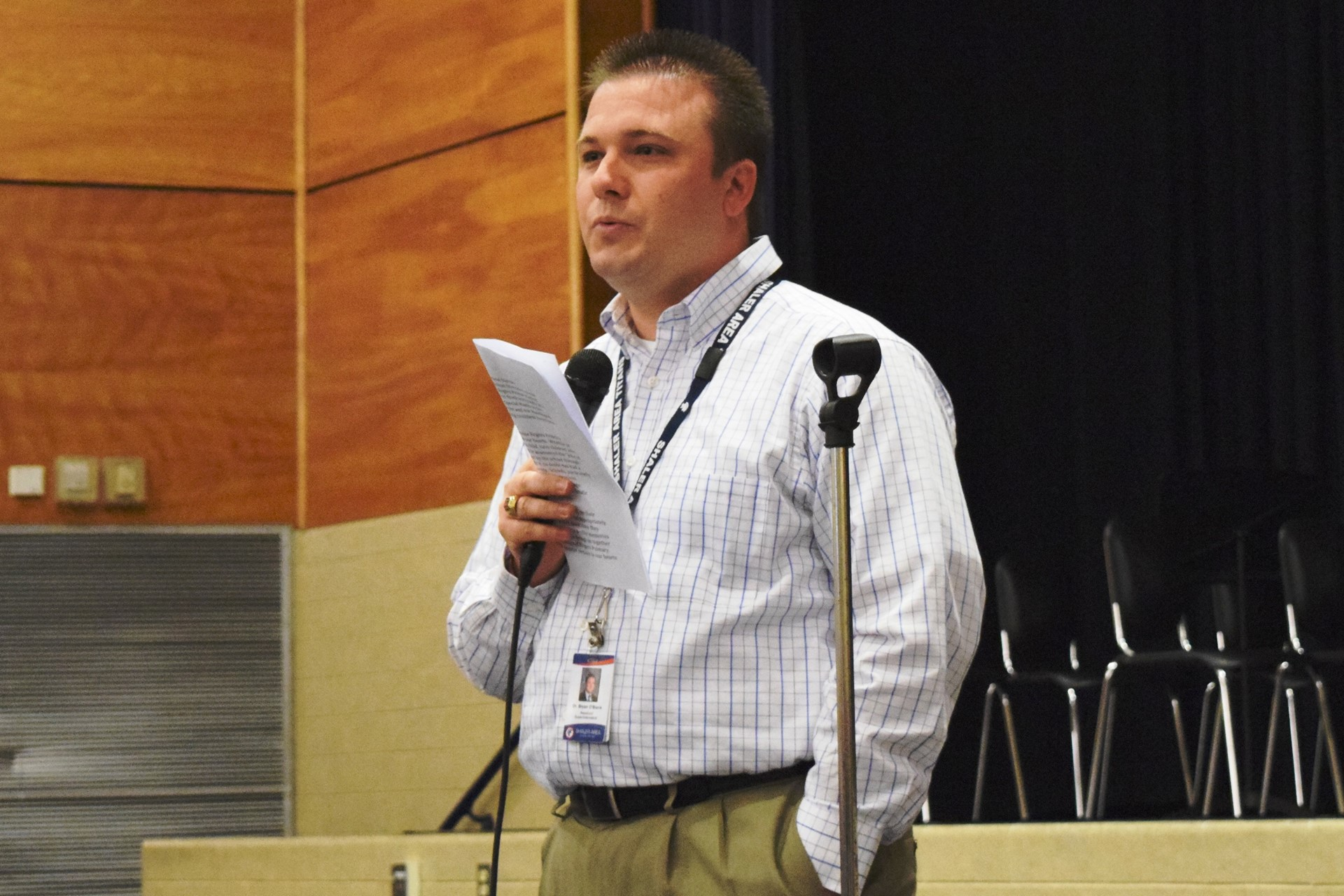 Assistant Superintendent Bryan O'Black speaks during the Rogers Reunion: May 2016
