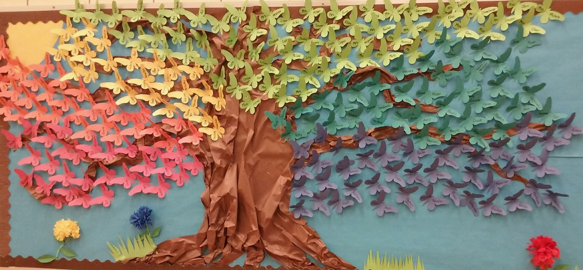 Butterfly Bulletin Board with all student and staff names