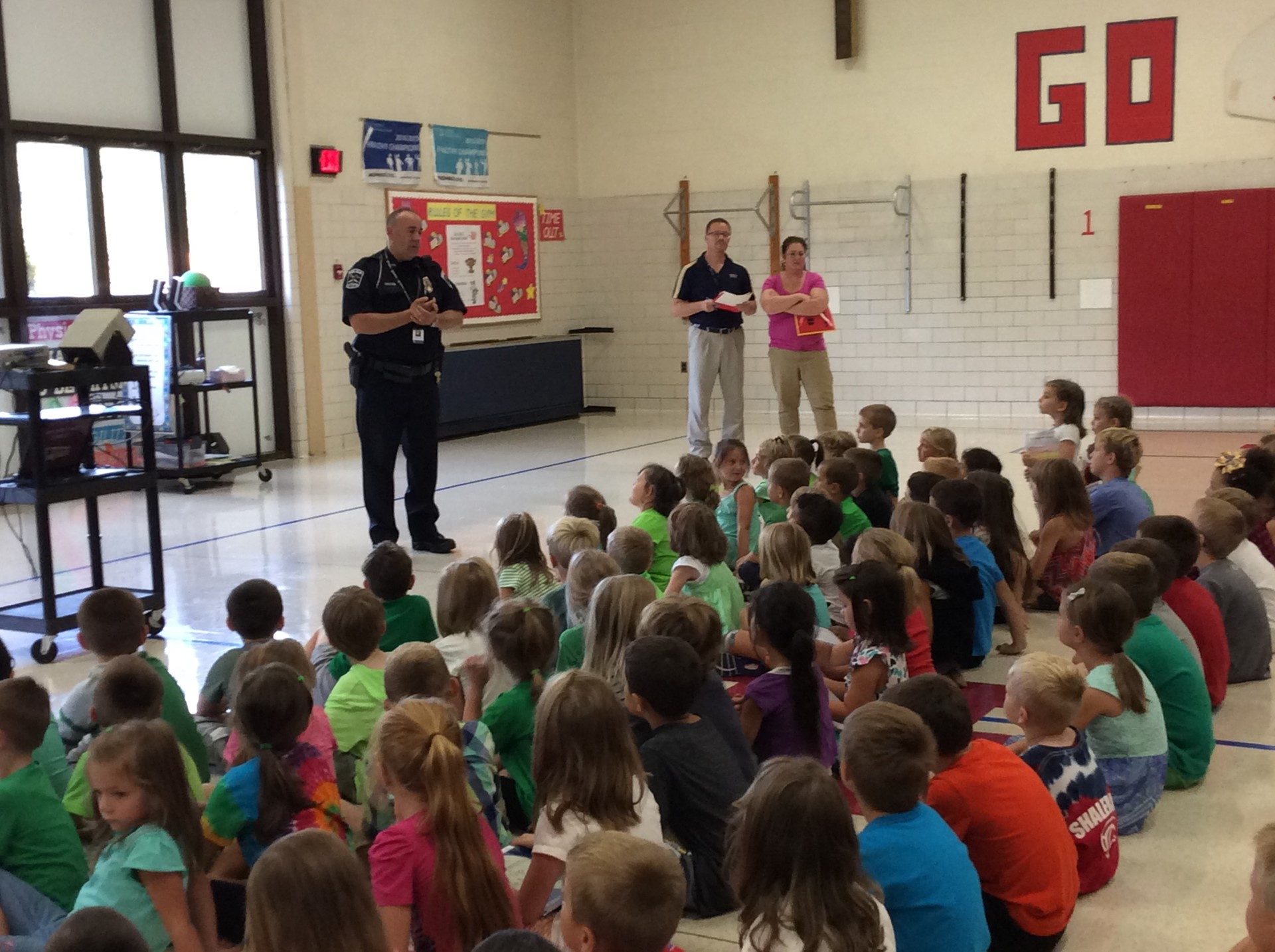 Officer Spiker Does Bus Safety Assembly