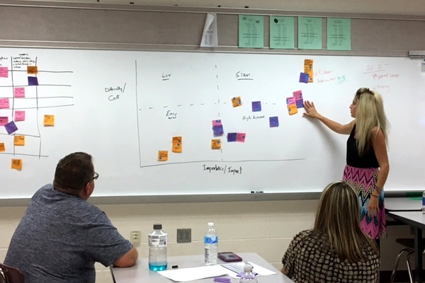Woman pointing to post-it notes on a whiteboard