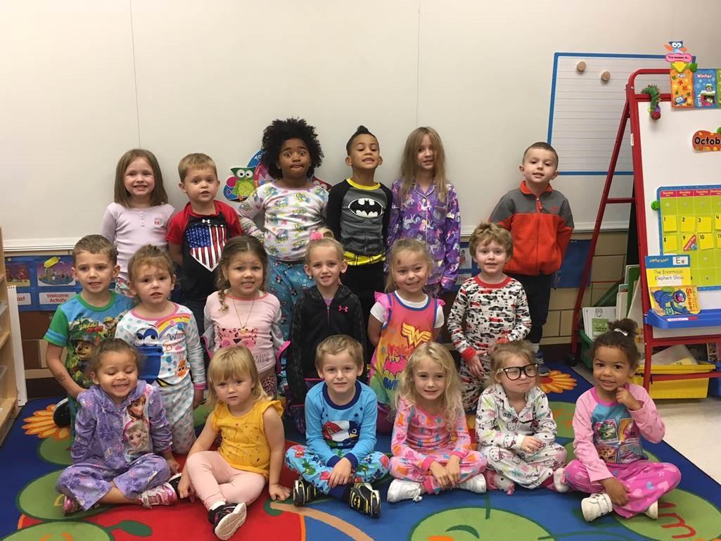Pre K participates in Pajama Day at Reserve benefits Reserve Primary Caring Program