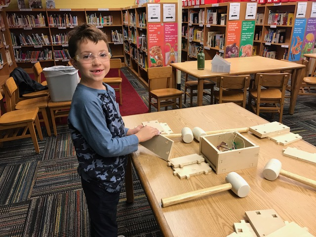 Mobile Fab Lab 2nd Grade student building a tool box Mobile Fab Lab
