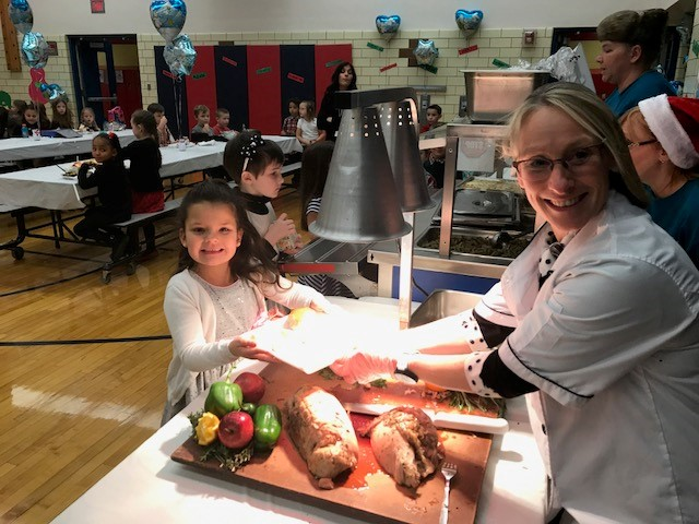 Turkey served at the carving station