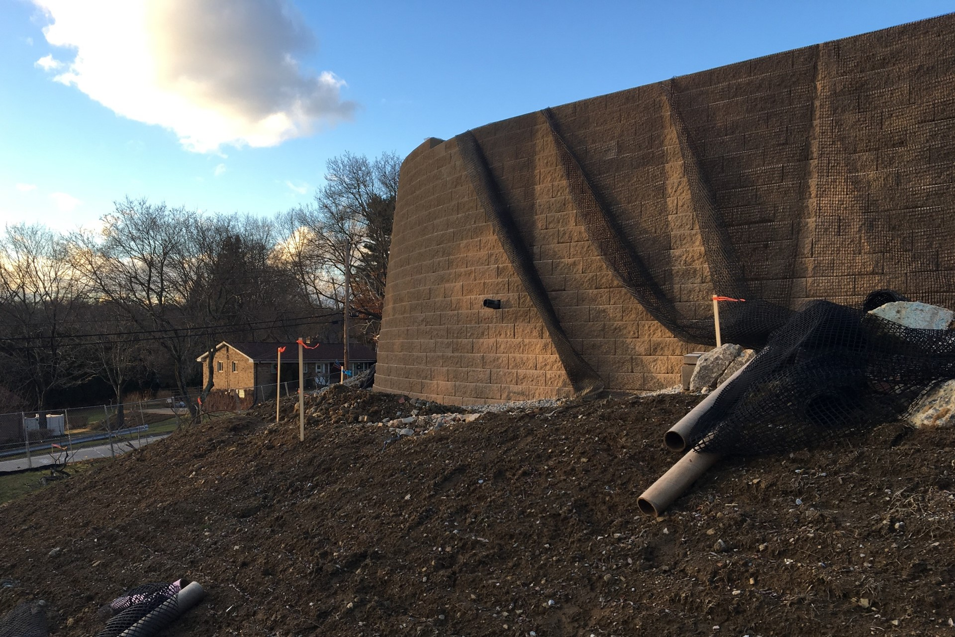 Retaining wall construction along Clare Street