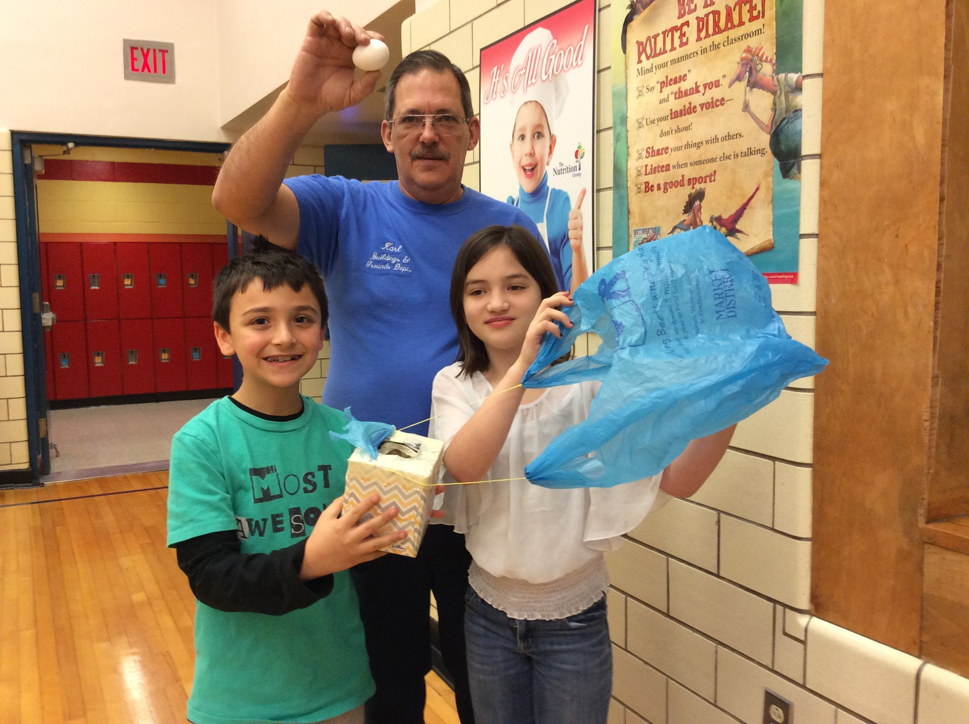 Evelyn & Jackson - winners of the Science Club Egg Drop Competiton