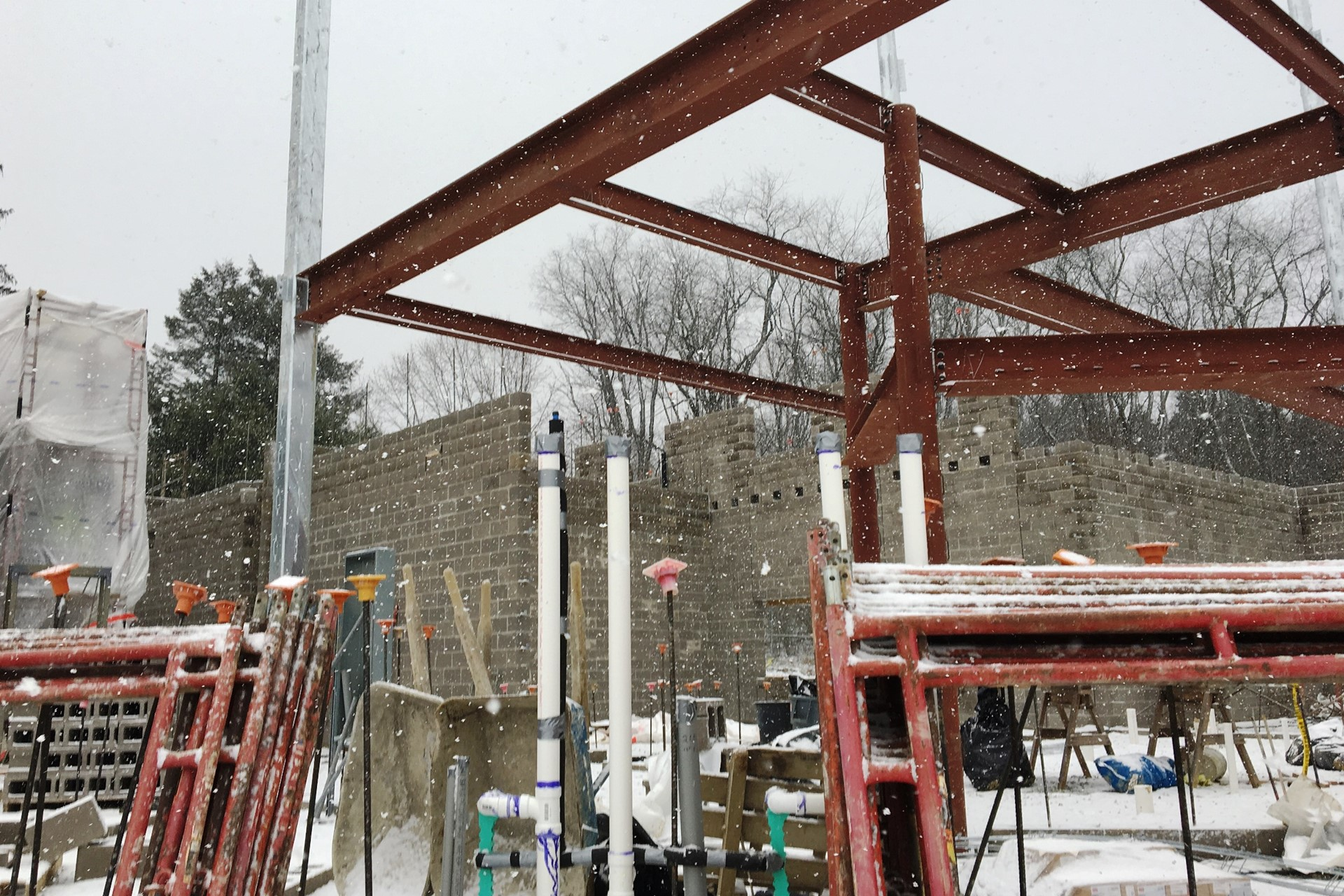 New school construction site: Steel beams erected in place