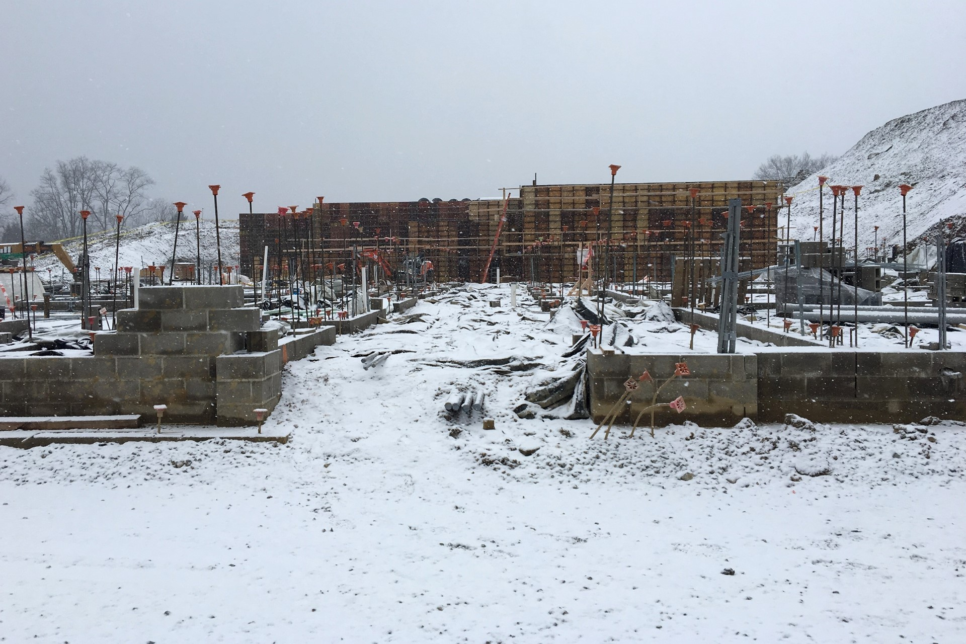 New school construction site: Cast-in-place wall panels