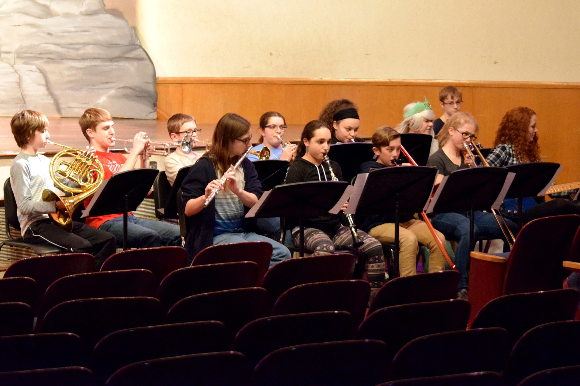 "Student musicians perform during the middle school musical ""The Little Mermaid JR"""