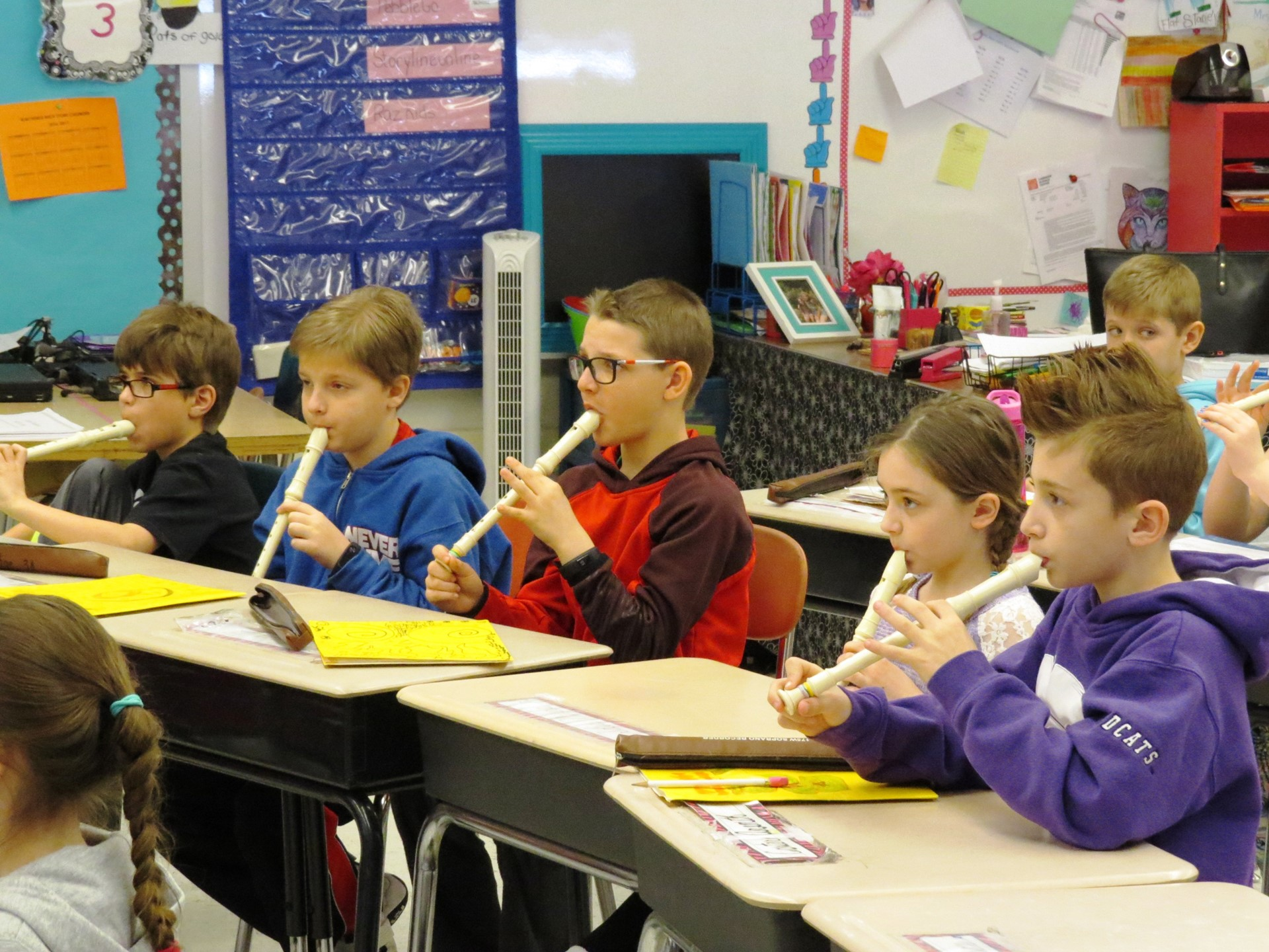 3rd grade is practicing with recorders