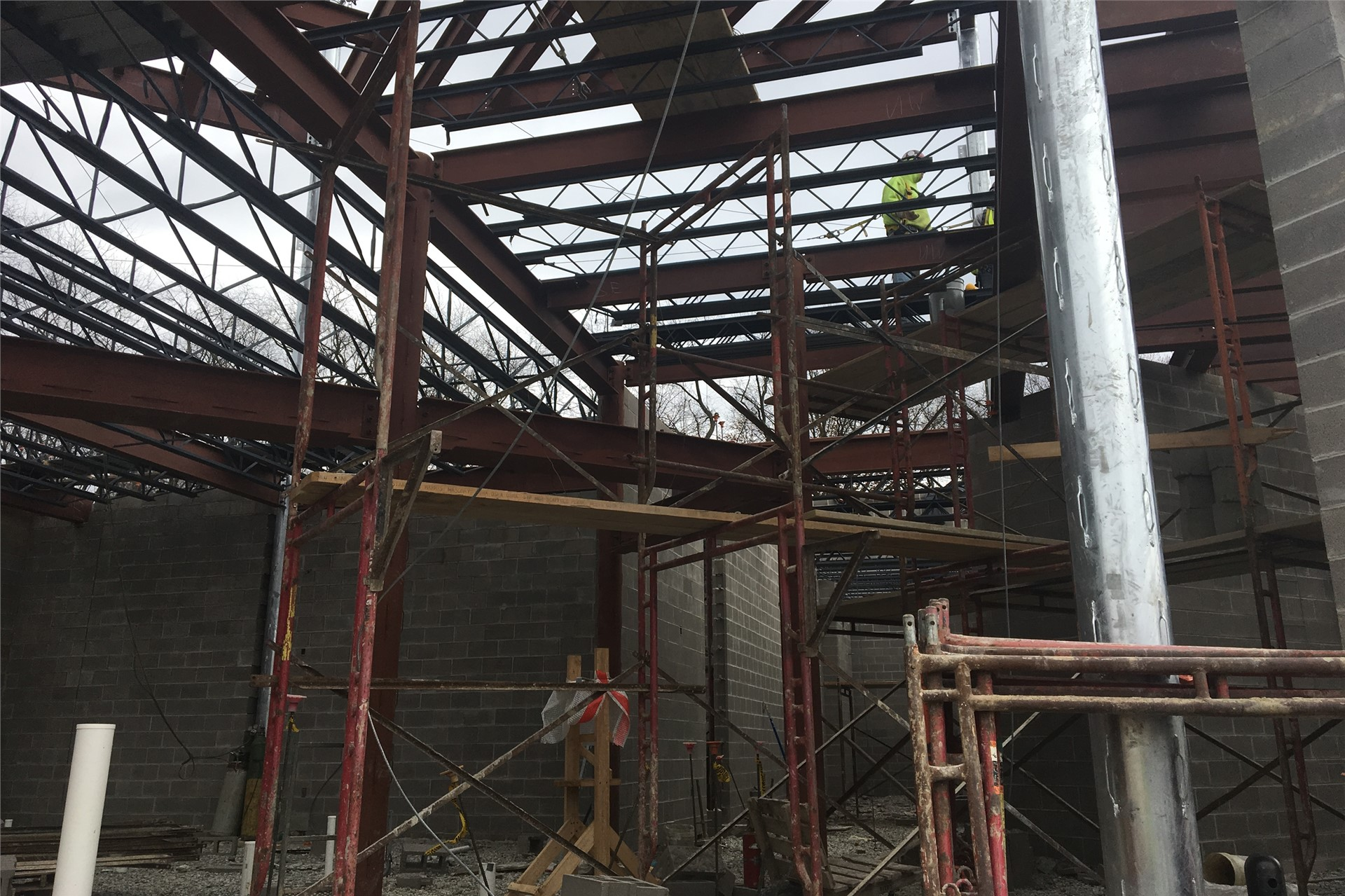 New school construction site: steel beams in place