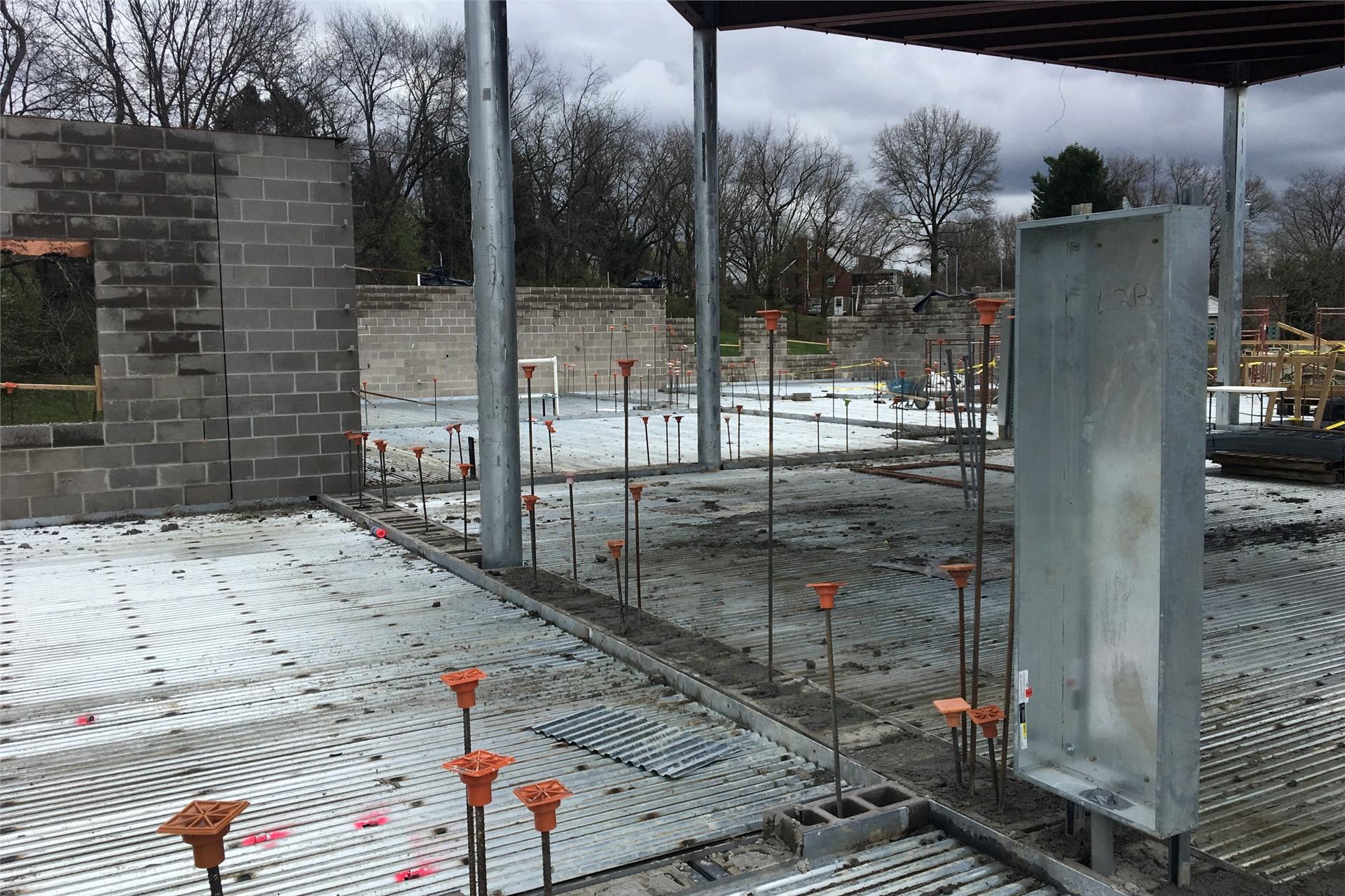 New school construction site: Concrete walls