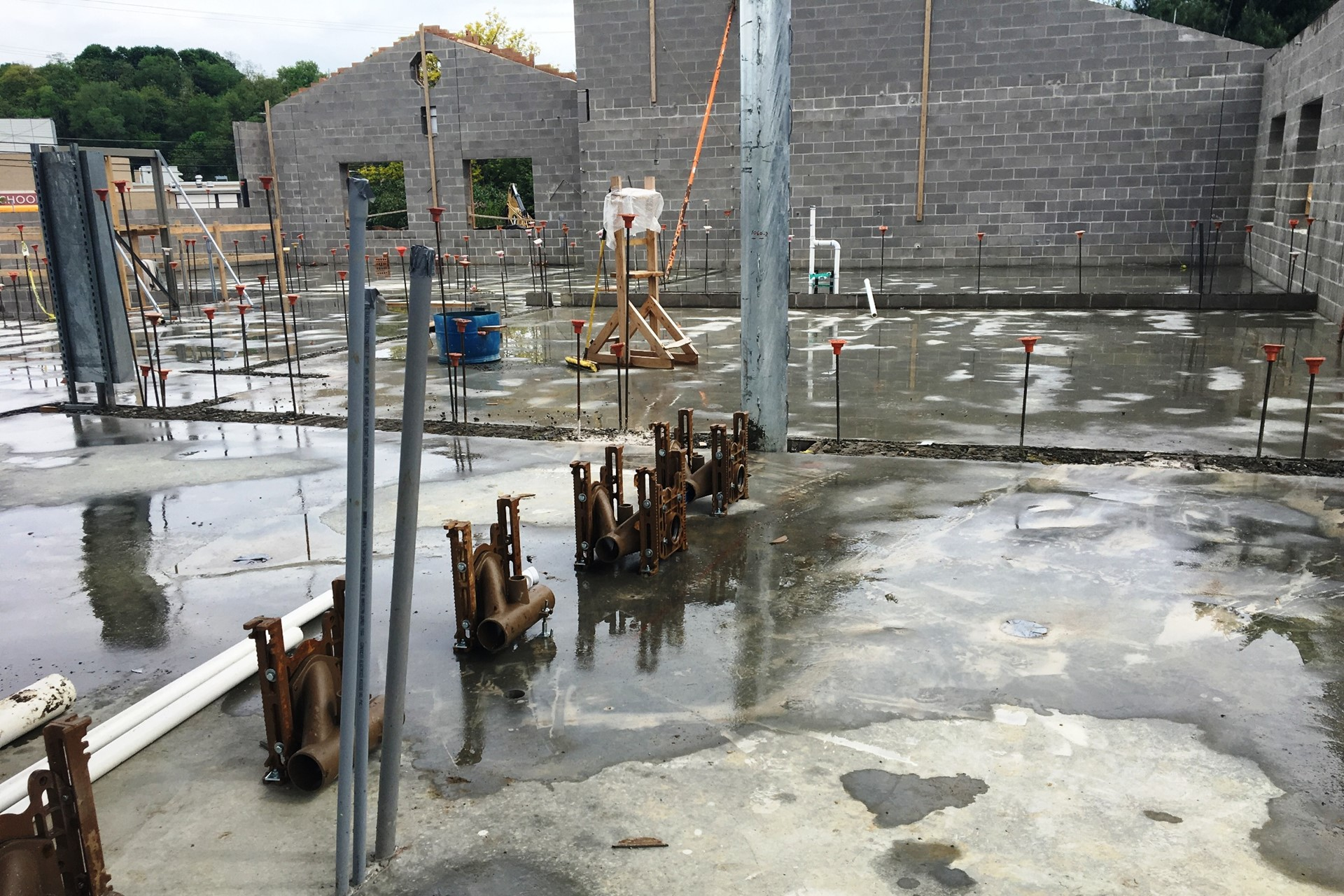 New school construction site: Concrete floor base