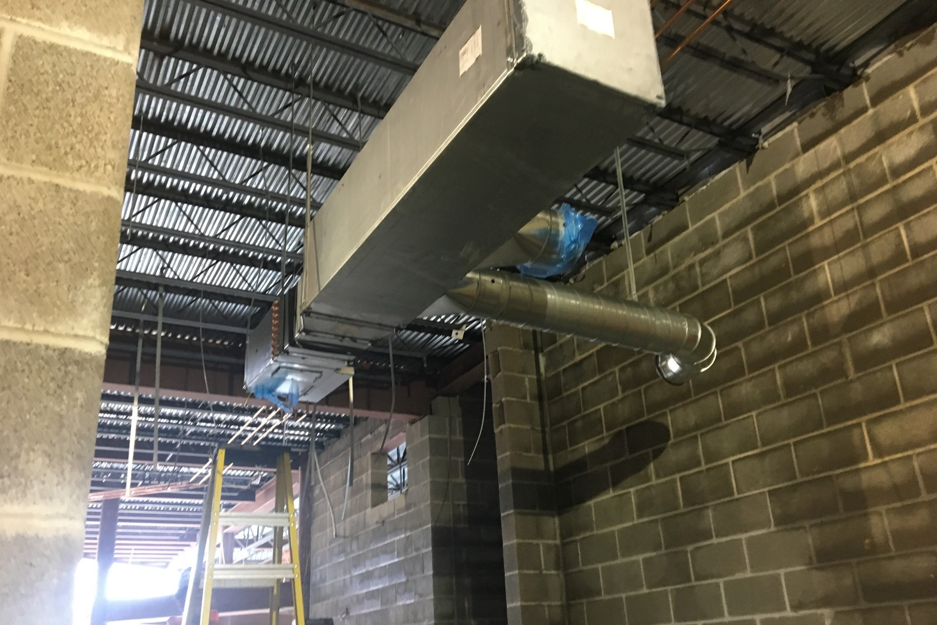 New school construction site: HVAC system installation