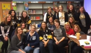 "Burchfield Staff wears team colors during ""No Name Calling Week"""