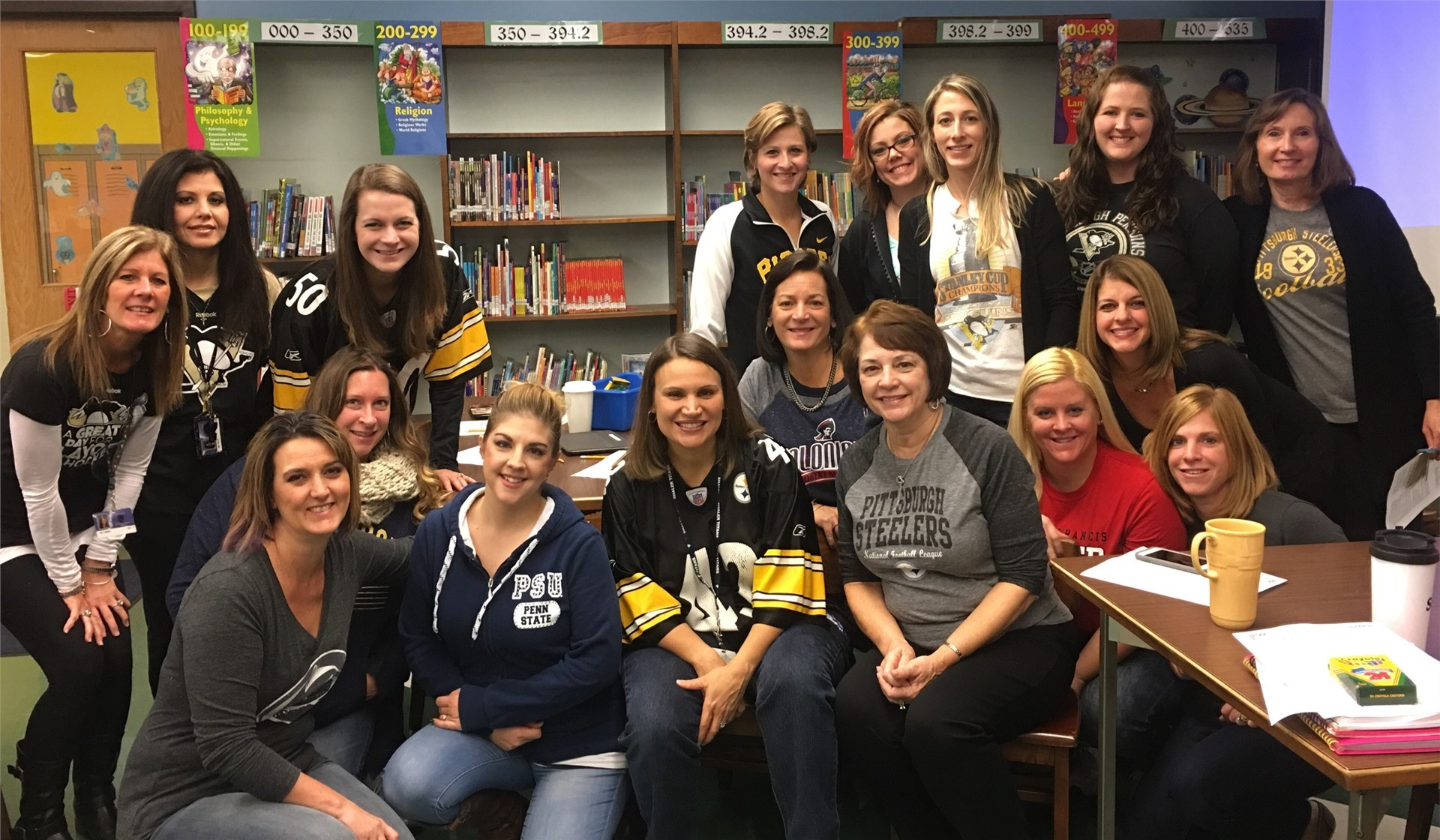 "Mrs. DM and Burchfield staff ""team up against bullying"" during ""No Name Calling Week"""