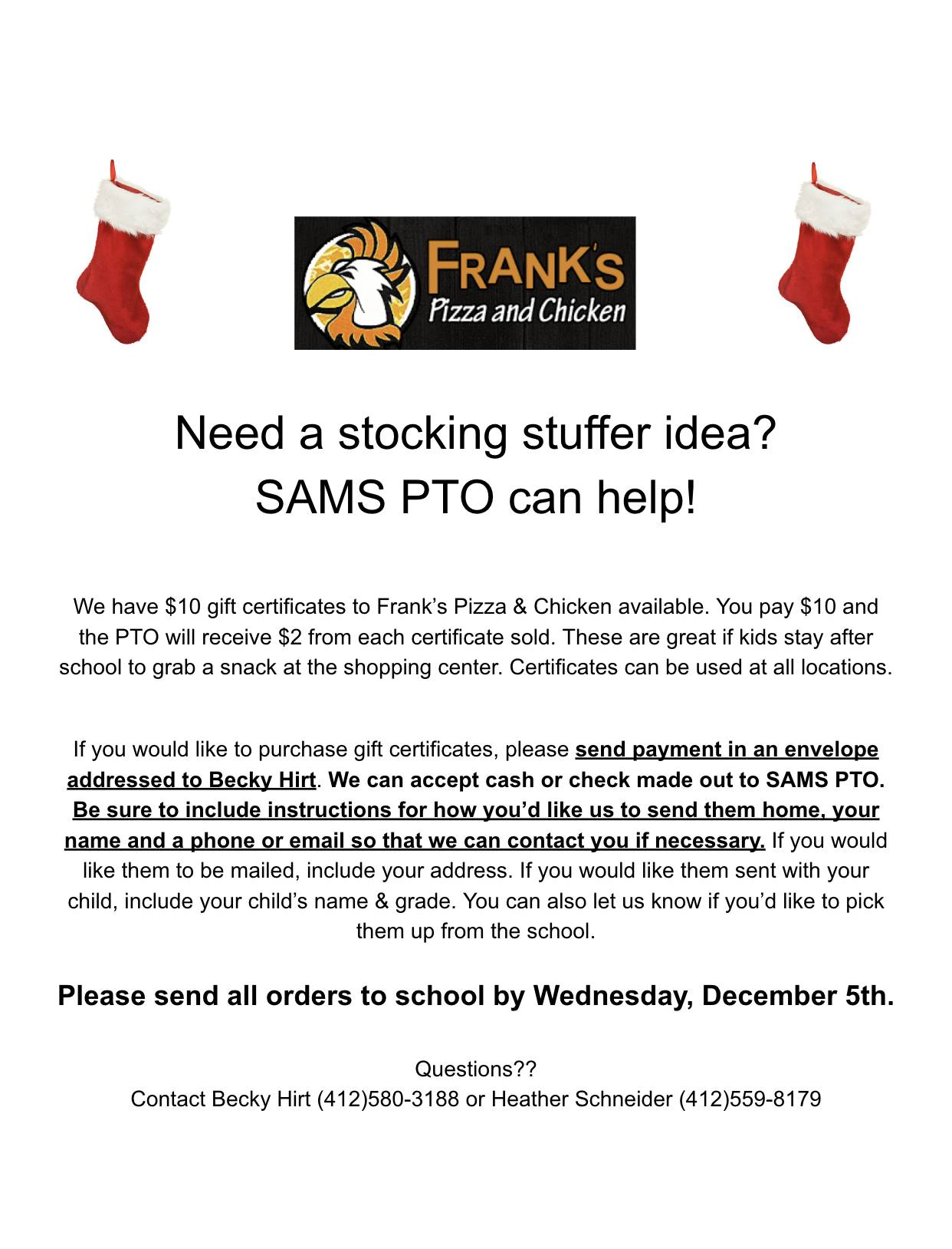 Frank's Gift Certificates available through Dec 5th!