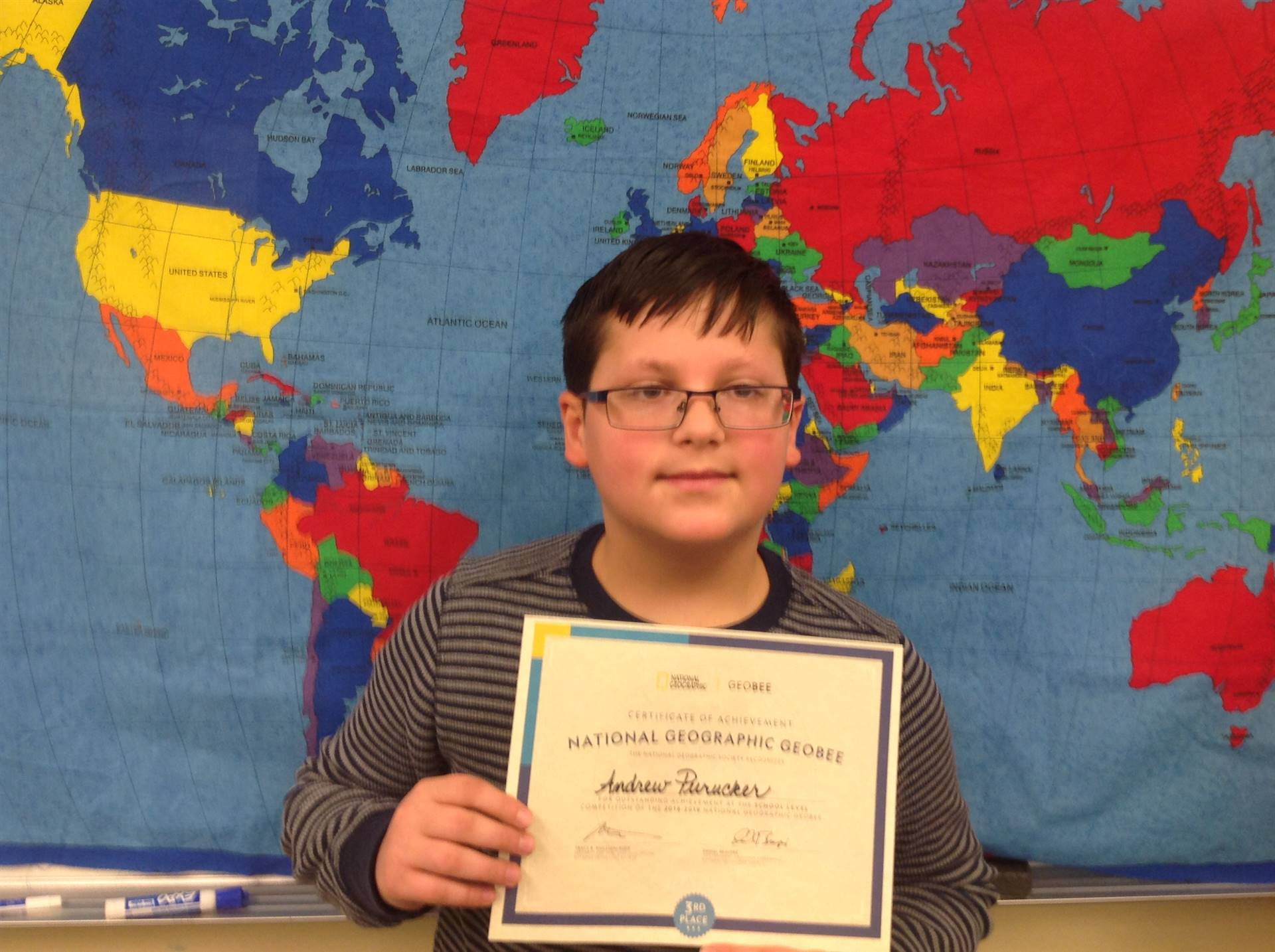 3rd Place in Geography Bee