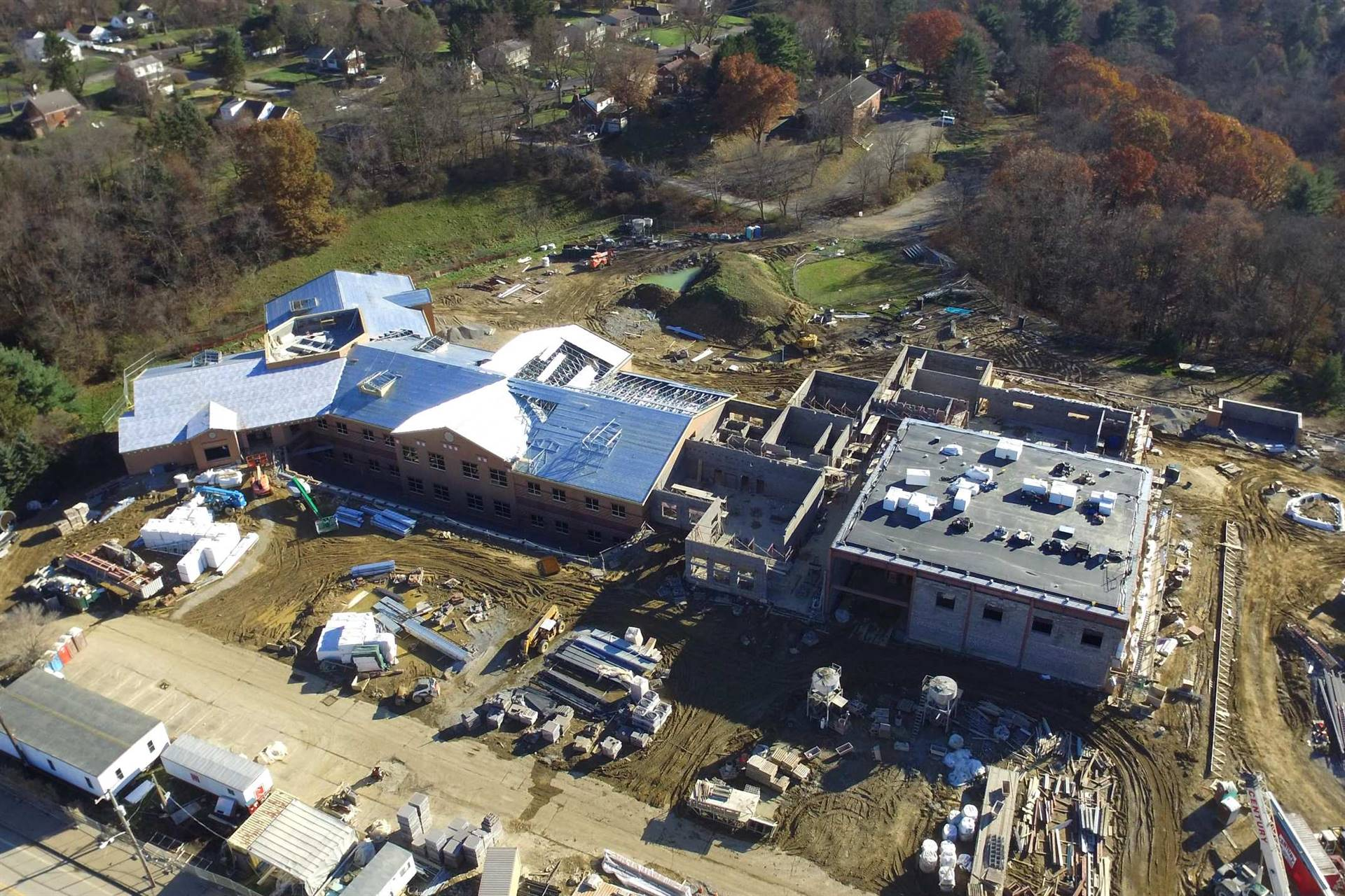 Aerial view of Scott Primary School building construction site