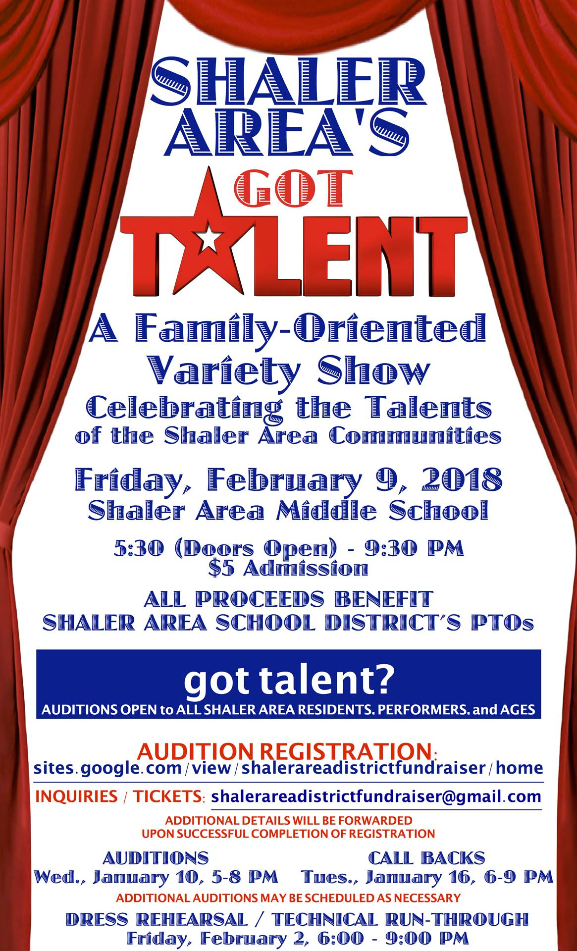 SA 2018 District Fundraiser Audition Poster