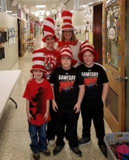 Teachers-and-students-dressed-for-Dr.-Suess-Day