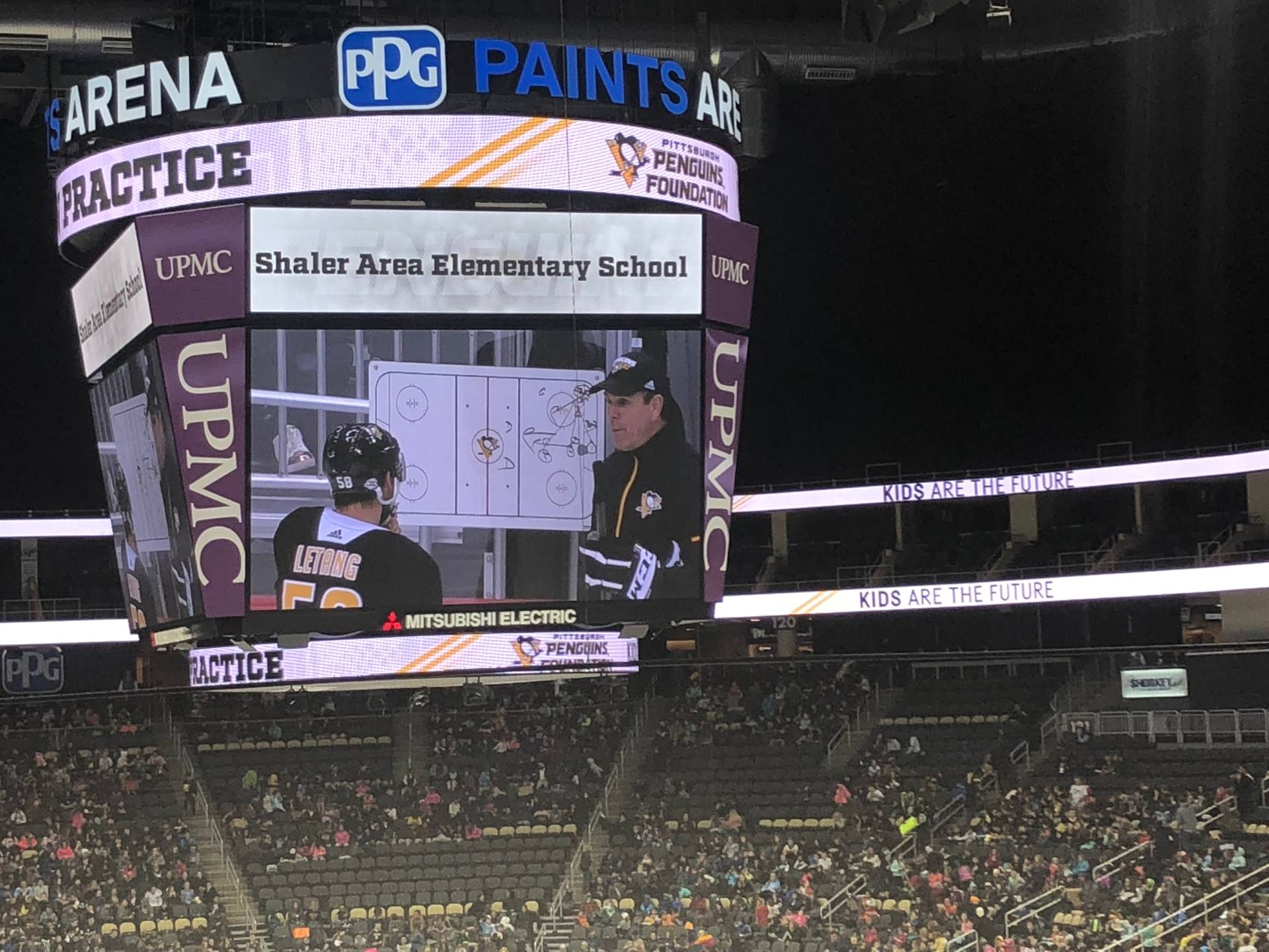 Jumbotron with Pittsburgh Penguin's Coach and Player