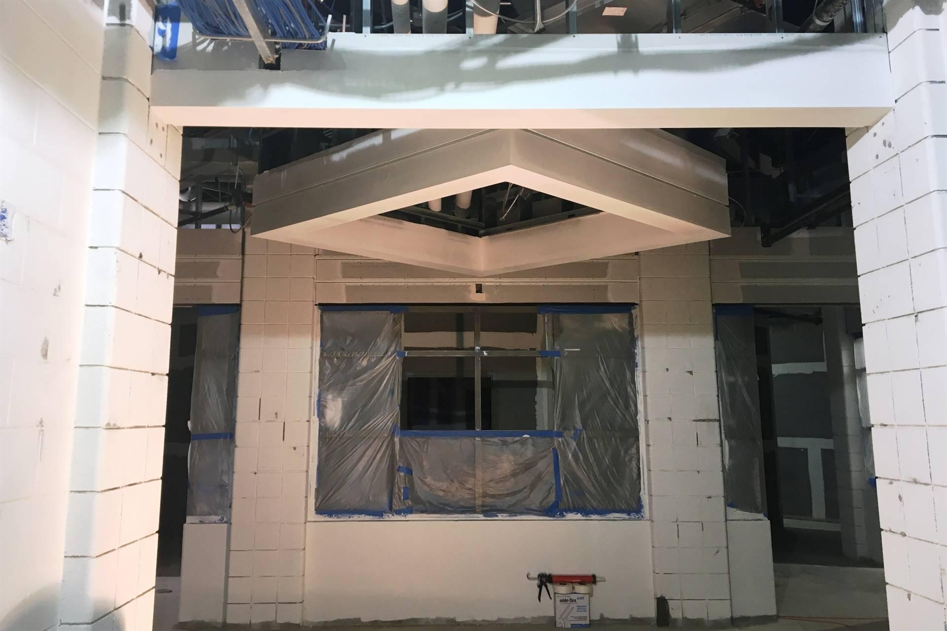 window frame outlined inside building