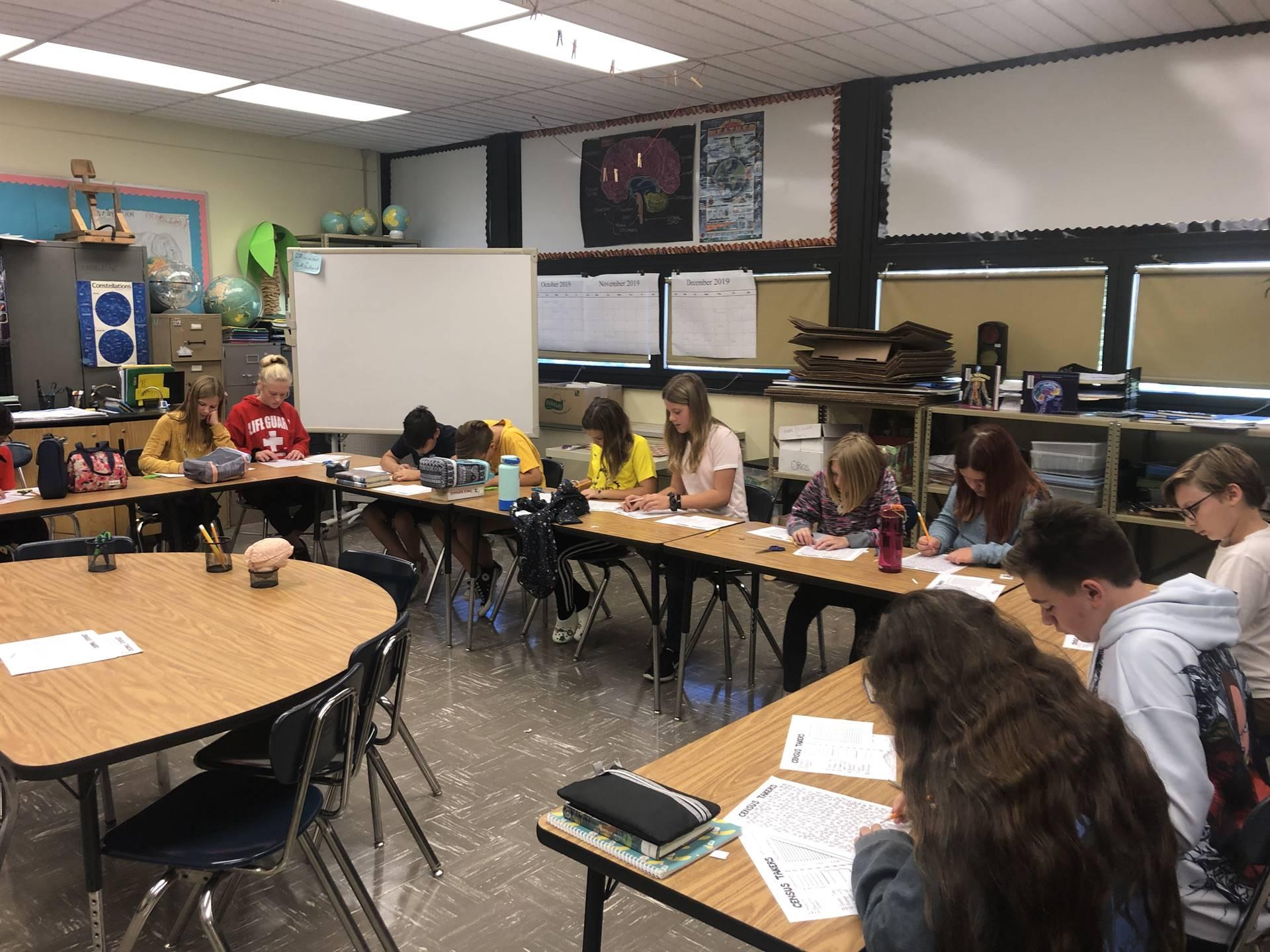 6th Grade class applying math