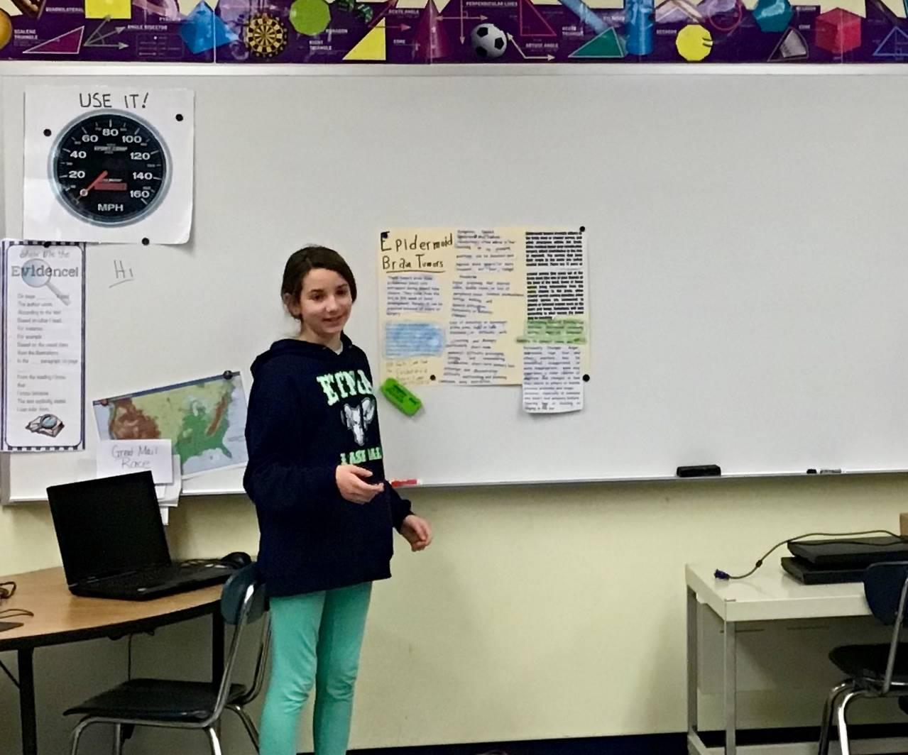 6th grader presenting