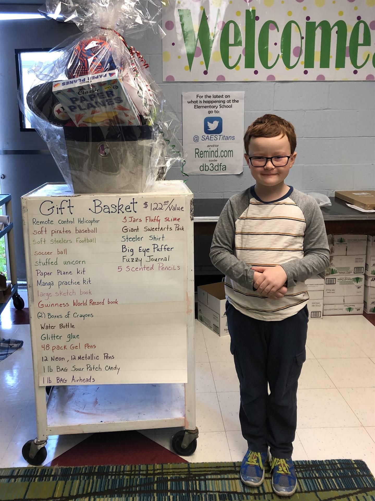 4th grader won the gift basket