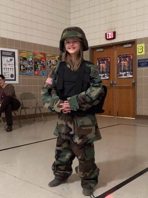 Addison Zillweger-getting-the-idea-of-what-soldiers-wear