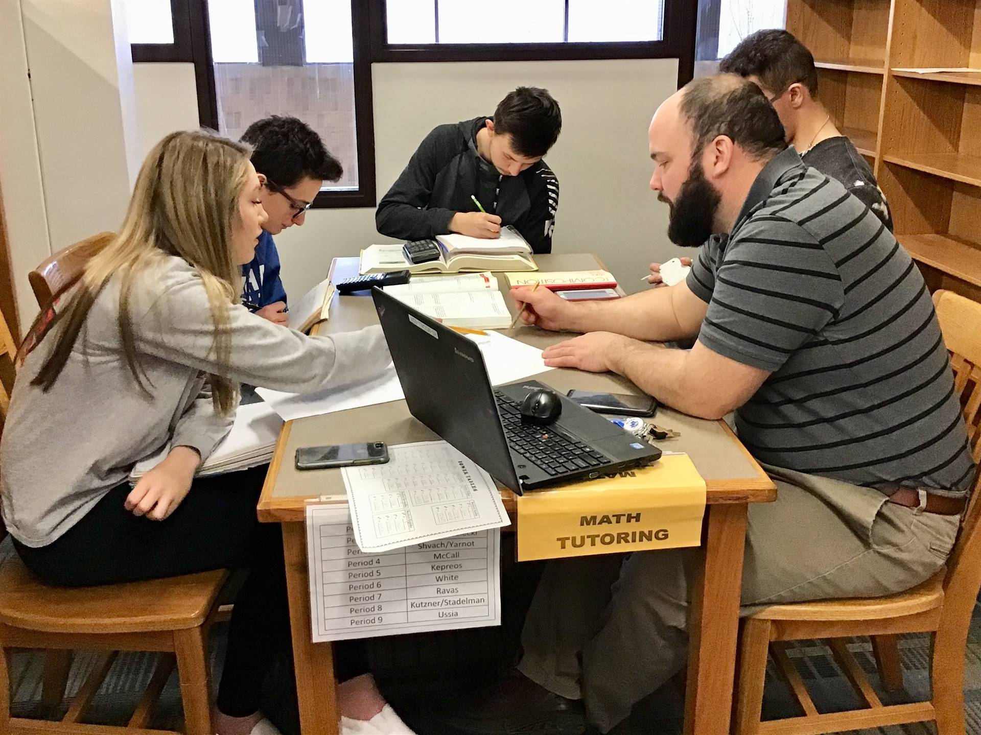 Math tutoring at the HS Library