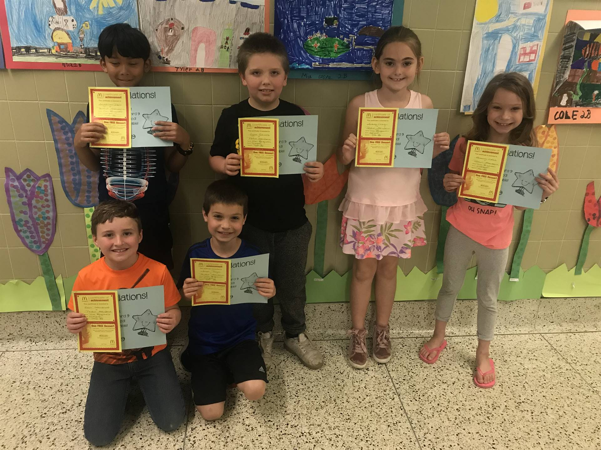 Marzolf students display perfect attendance awards