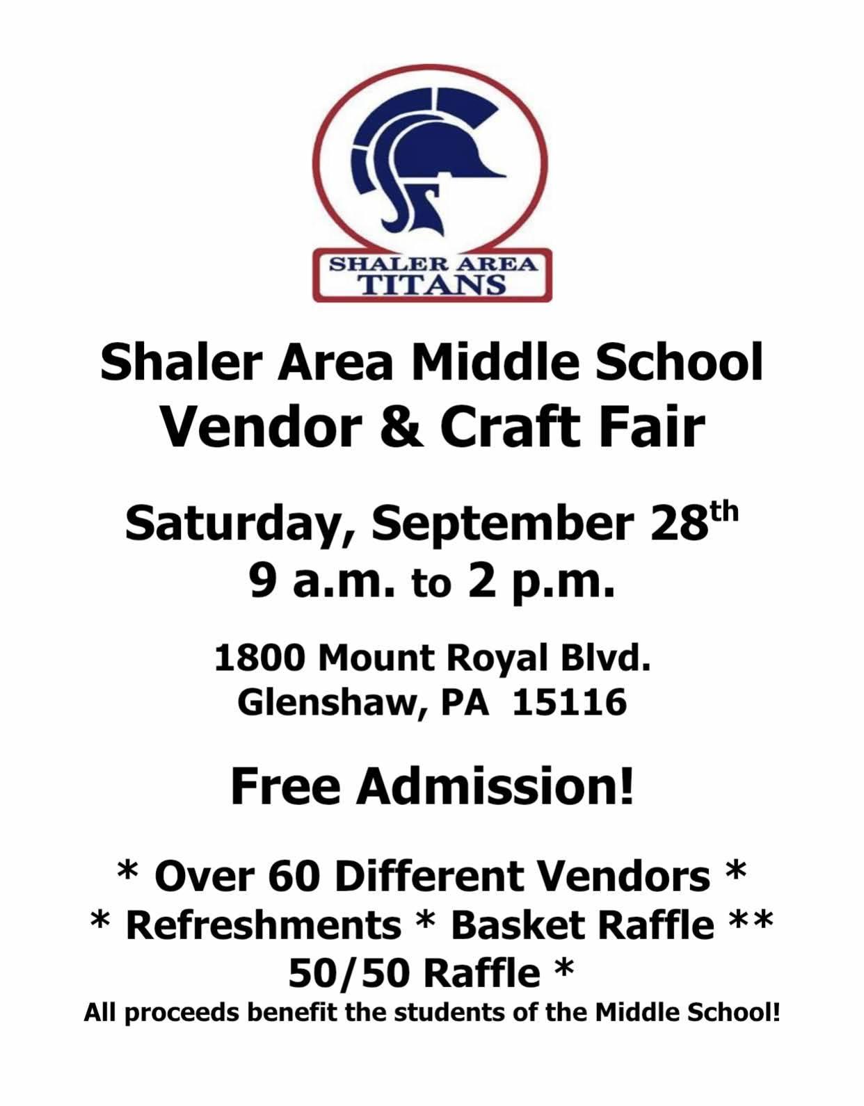Shaler Area Middle School 12th Annual Vendor & Craft Fair