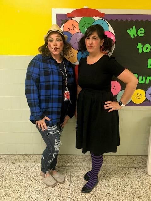 Mrs. Franz and Mrs. Bork from Kindergarten celebrate Halloweeen