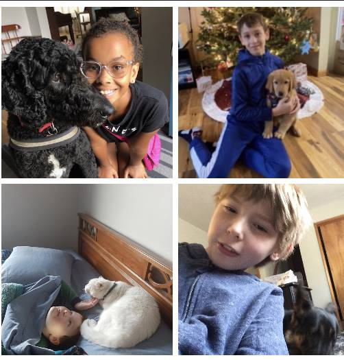 4 pics of kids and their pets