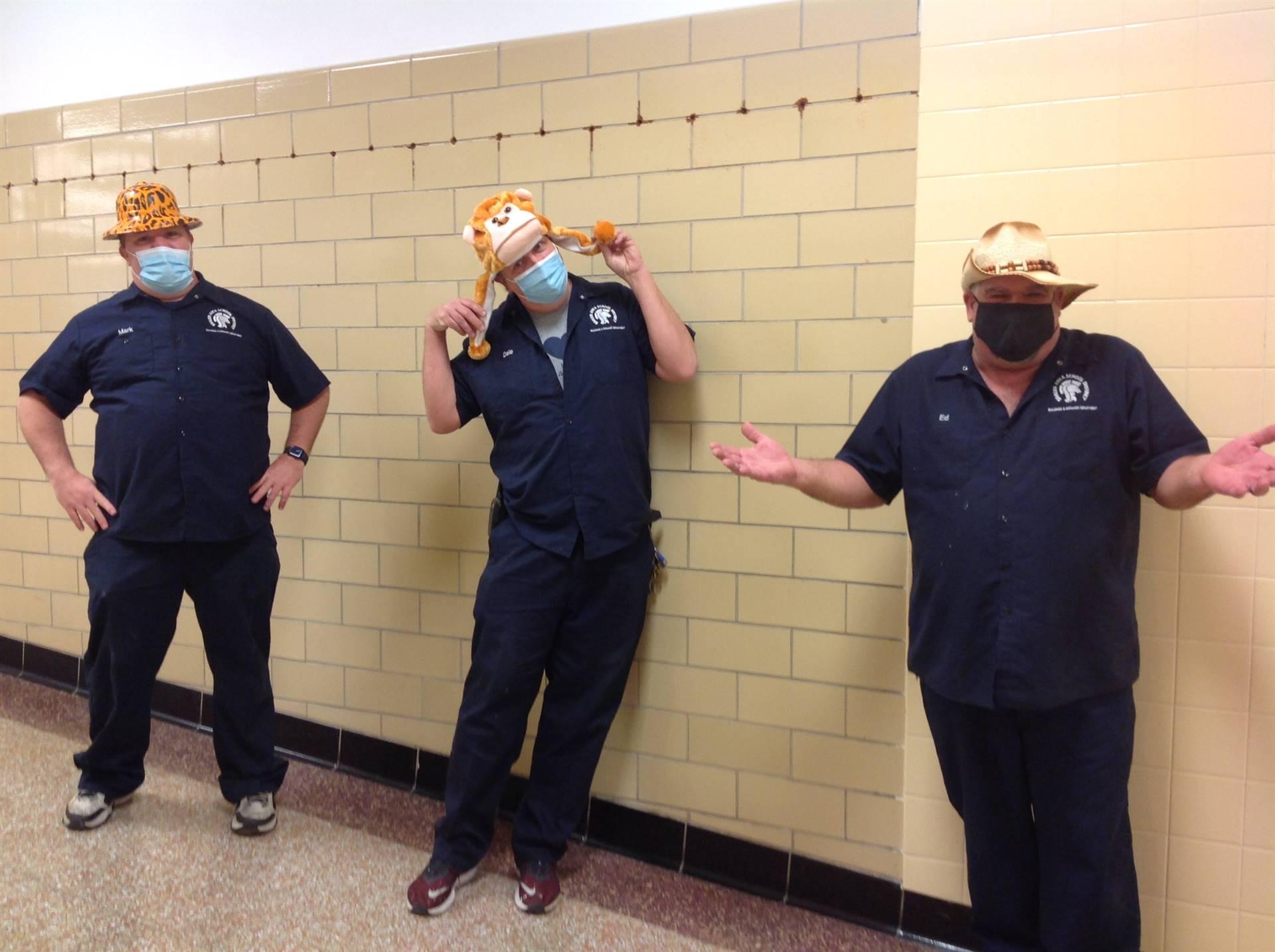 3 Custodians on Crazy Hat Day