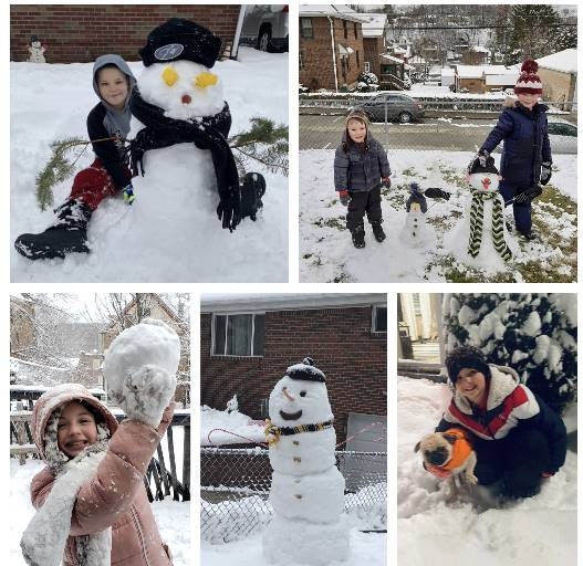 5 pictures of kids playing in the snow