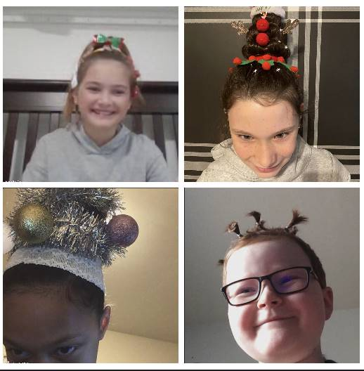 4 students with crazy hair day