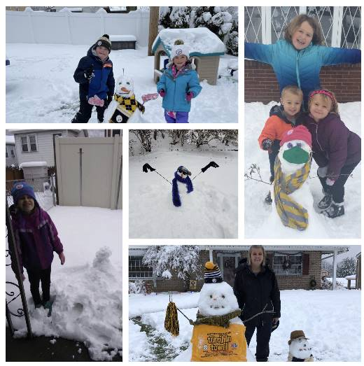 5 pictures of kids building a snowman