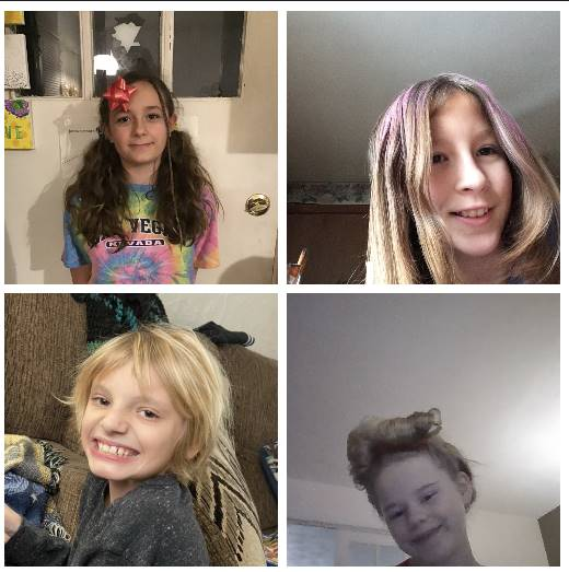 4 kids with crazy hair