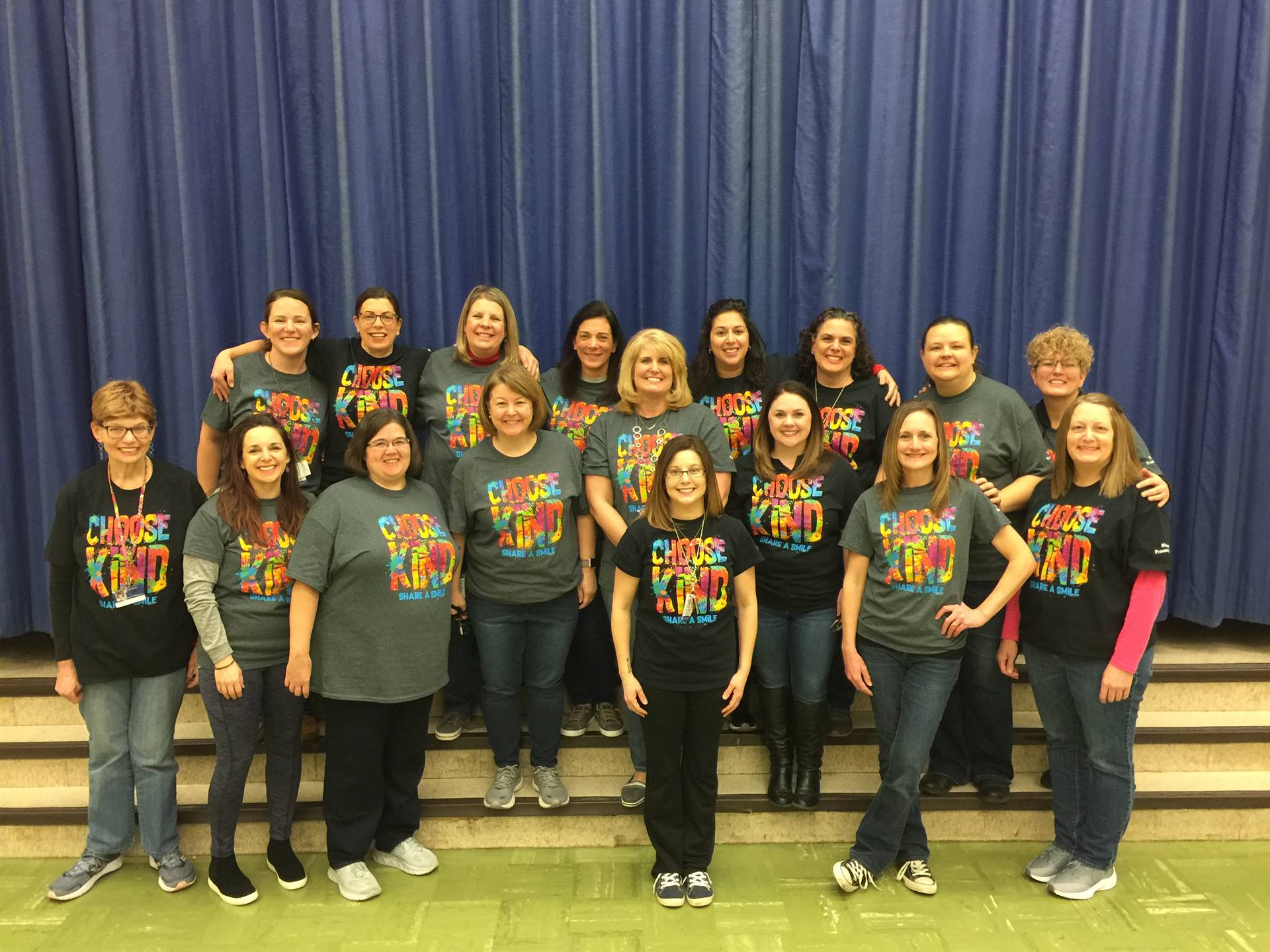 Marzolf staff wearing Choose Kind t-shirts