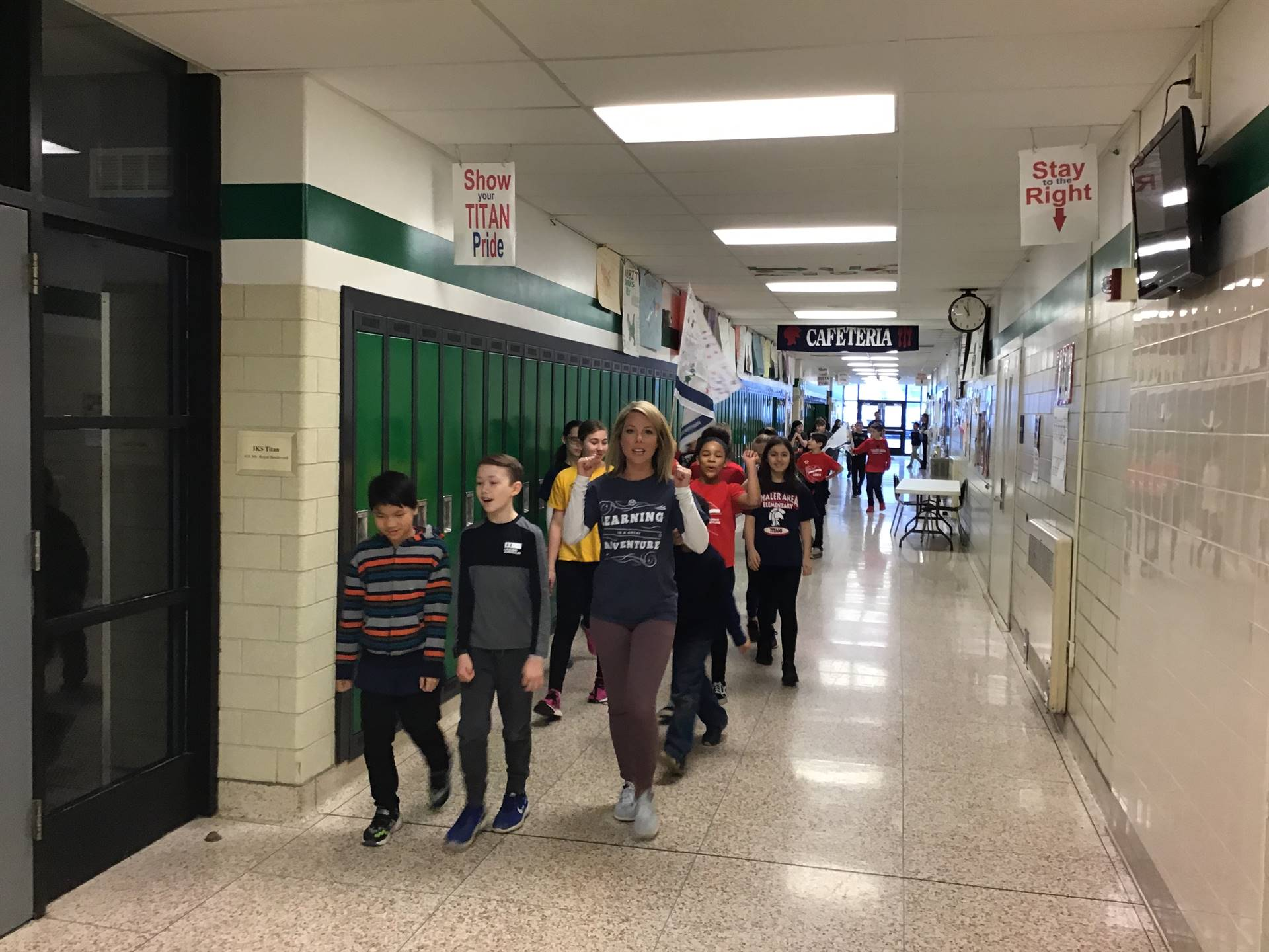 Mrs. Filo's Class walking to Boosterthon