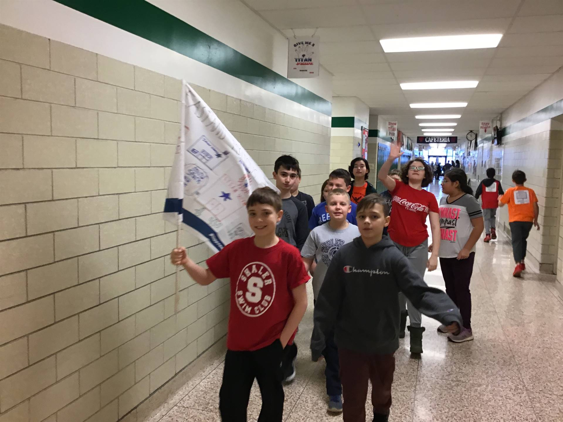 5th Grade Students Walking to Boosterthon